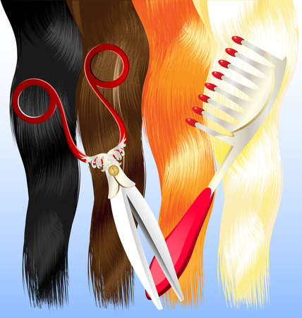 coiffure: on a blue background are a red, black, brown, blonde hair and large comb and scissors Illustration