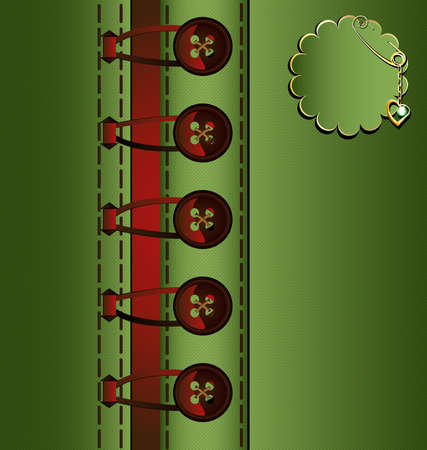 abstract background: brown buttons between green tissue Vector