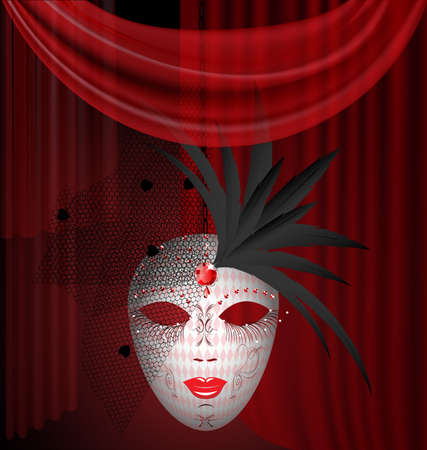 venetian mask: on an red drape is a large white venetian mask with black feathers and veil