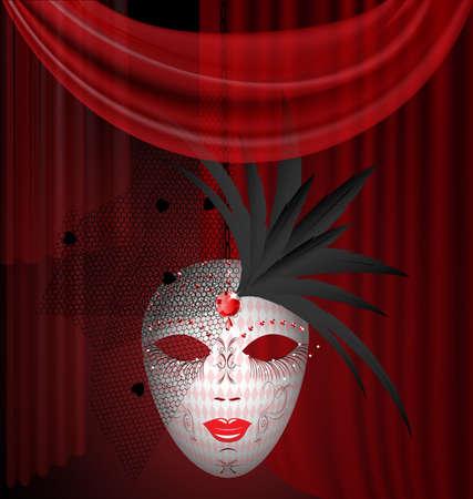 attribute: op een rode laken is een grote witte Venetiaans masker met zwarte veren en sluier