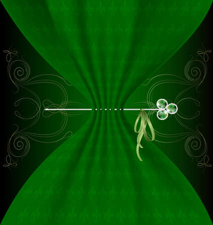 black bow: background fantasy: green tissue and metal pin