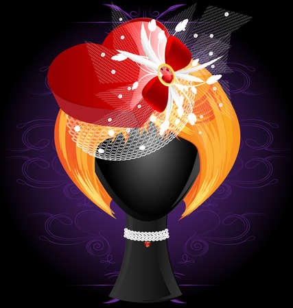 on a dark background with an abstract ornament are a red-haired wig in a red heart-shaped hat Vector