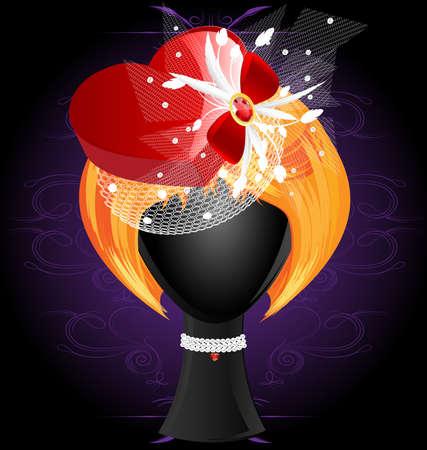 peluca: sobre un fondo oscuro con un ornamento abstracto son una peluca pelirroja en un sombrero rojo en forma de coraz�n Vectores