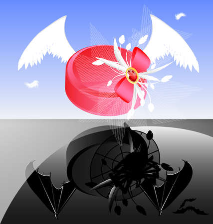 inverse: two womens hats: pink with white wings and black with demonic wings