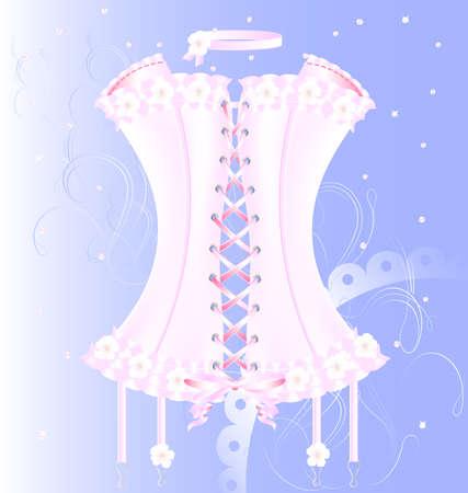 flirty: su uno sfondo blu � un grande cubo bianco-rosa corsetto decorato con perle, pizzi e fiori Vettoriali