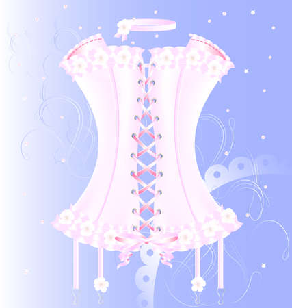 on a blue background is a big white-pink corset decorated with pearl, lace and flowers