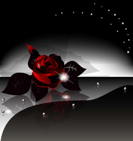single flowers: on an black background is a large dark rose with drops and black veil Illustration