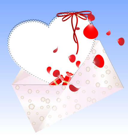 drawing pin: on a blue background is colored envelope with a heart-shaped letter, petals and sweets