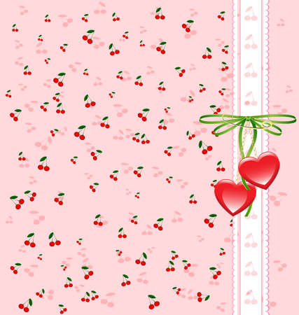 on a pink background picture is a cherry, white lace and a bow with heart-shaped pendants Vector