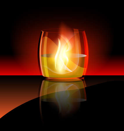 aganst dark background is a large burning glass Stock Vector - 10422963