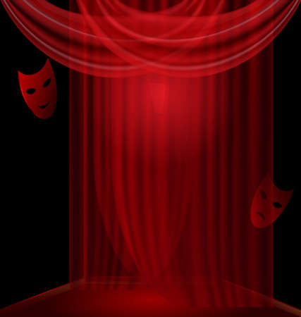 comedy: black room-box, red drape and two mask comedy and tragedy