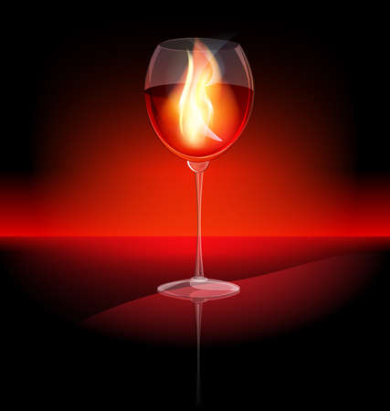 aganst dark background is a large burning glass with red wine Stock Vector - 10460927