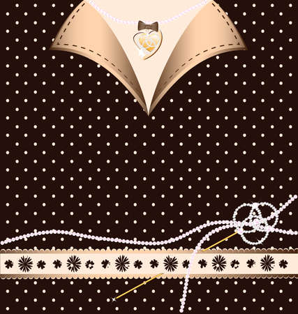 background: brown-beige variation with a golden pin and pearl Vector