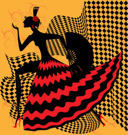 on yellow bacground is an abstract black-red silhouette flamenco dancer Stock Illustratie