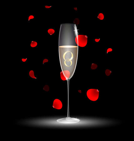 champagne celebration: two rings in a glass of champagne Illustration