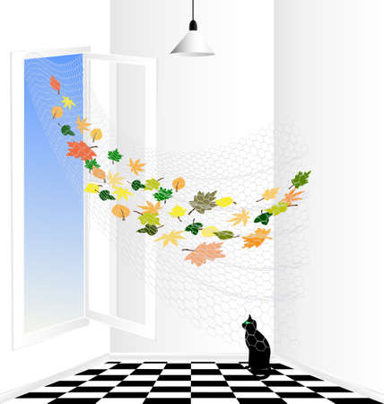 curtian: white room and black cat Illustration