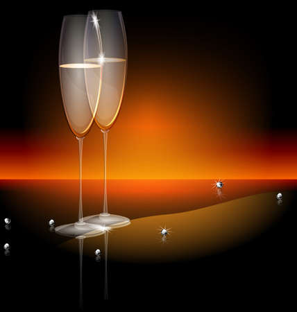 champagne celebration: black background two glasses of champaghe