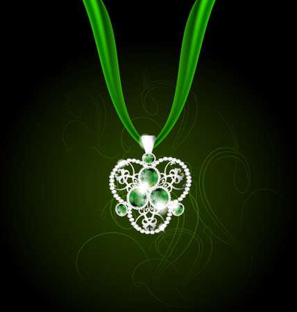 Colgante de joyería con gemas verdes