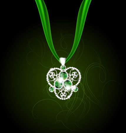 jewelry pendant with green gems Stock Vector - 10573799