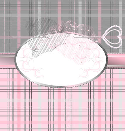 background fantasy: pink-gray plaid variation with a jewelry pin and lace Stok Fotoğraf - 10573800