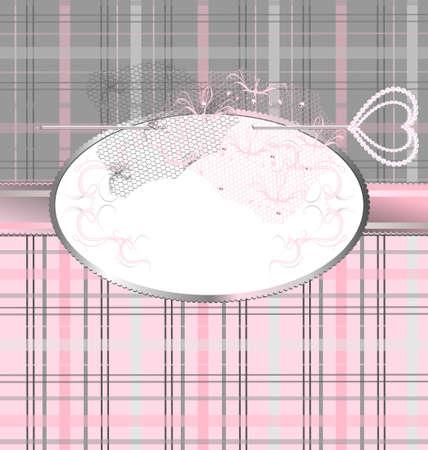 Fantasy Hintergrund: rosa-grau Karo Variation mit einem Schmuck-Pin und Spitze