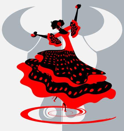 flamenco dancer: Bailar�n espa�ol Vectores