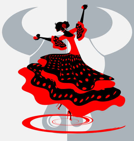 spanish bull: Spanish dancer Illustration