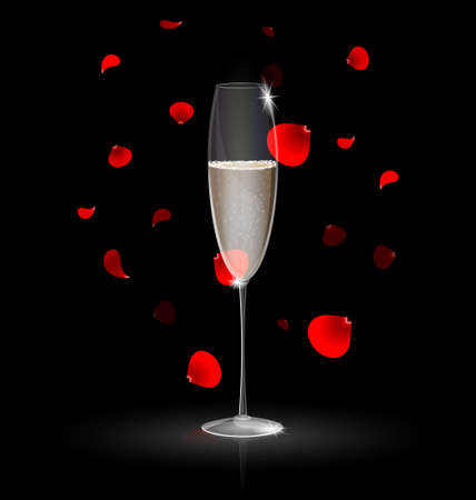 declaracion de amor: champ�n y p�talos rojos