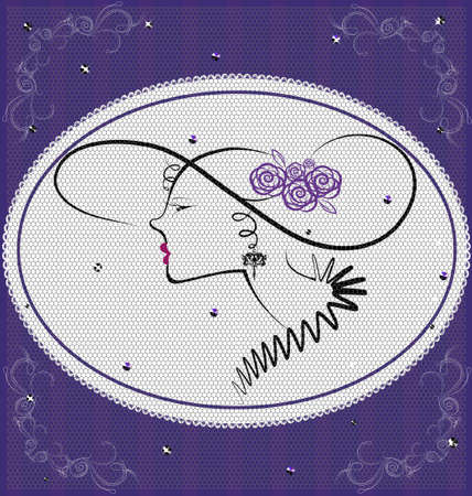 ornament  jewellery: background violet lady Illustration