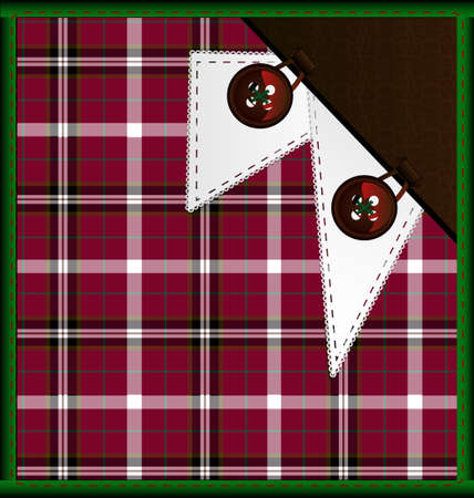rounde: background red-green plaid with buttons Illustration