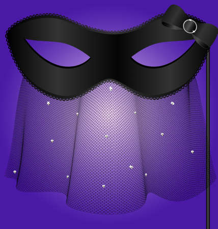 black carnival half-mask with veil Stock Vector - 10698323