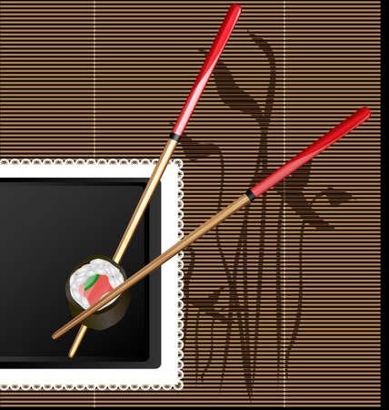 korean food: chopsticks and sushi Illustration