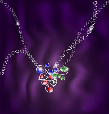 joyas de plata: blanco colgante de cadena y joyer�a
