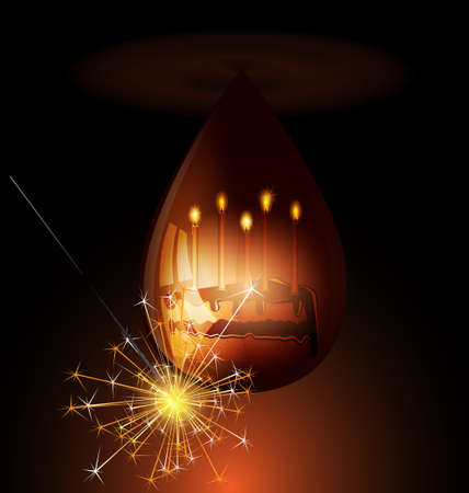 felicitate: cake with candles in a drop of chocolate Illustration