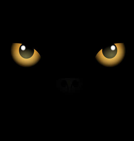 rounde: black background yellow eyes Illustration