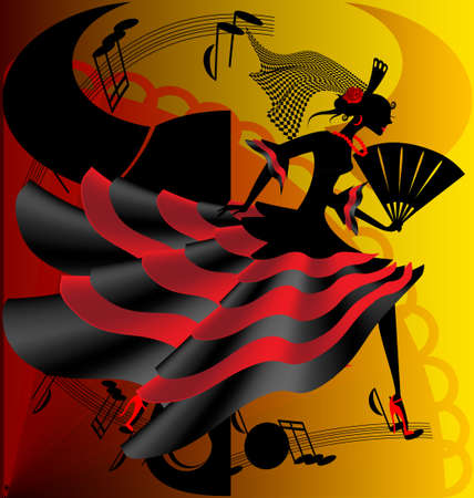 danseuse flamenco: Danse espagnole Illustration