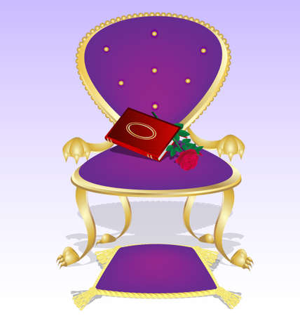 expose: purple armchair and red book with rose