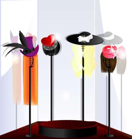 kleedkamer: raam-en dames hoeden (20). jpg Stock Illustratie