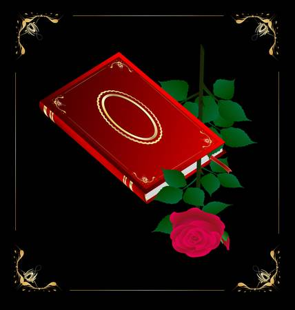 red book and rose Vector