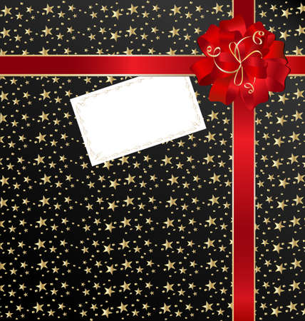 black-red background with bow and empty card Vector