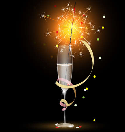 champagne and sparkler Stock Vector - 10956206
