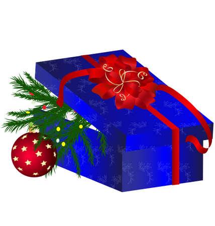 decoraded: blue Christmas box Illustration