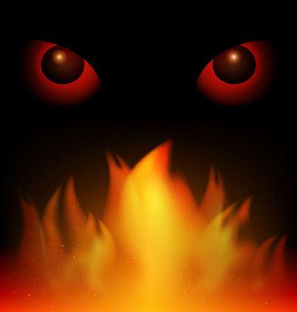 불을 붙이다: 검은 배경에 빨간 눈