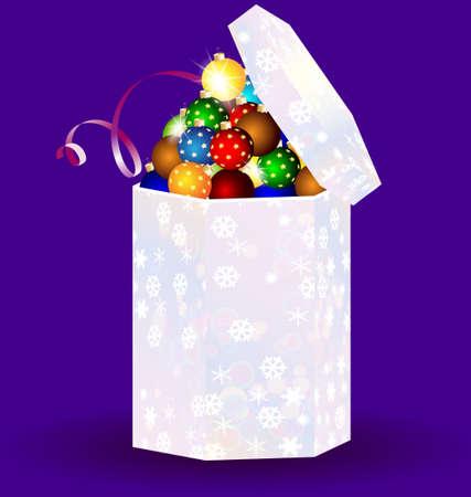 decoraded: gift box with Christmas balls Illustration
