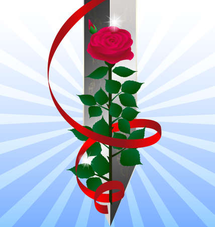 red rose and sword Stock Vector - 11023791