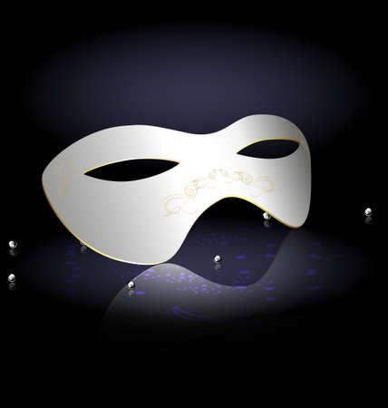 mummers: white carnival half-mask