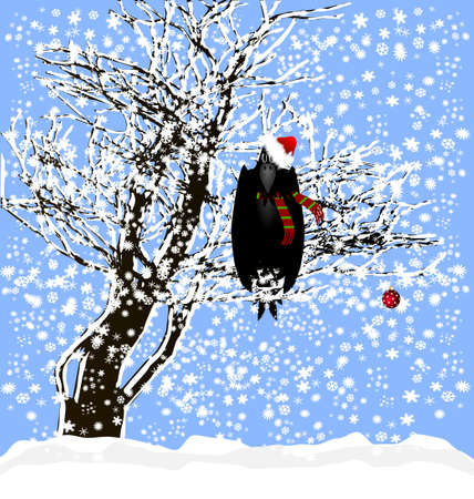 Christmas and a raven Vector