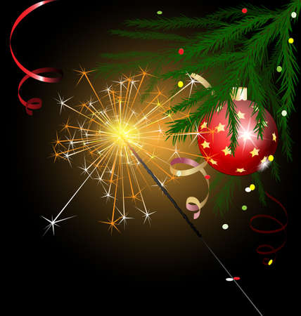 Christmas tree and sparkler Vector