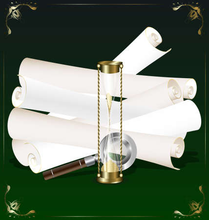 timepiece: old scroll, hourglass and magnifer