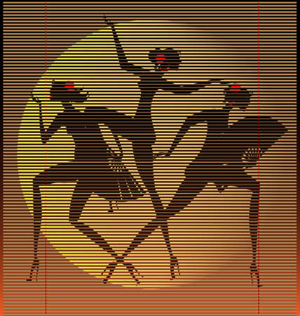straw mat three women Vector
